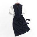 Dress Summer 2020 Khaki, Navy S,M,L longuette singleton  Short sleeve Bat sleeve More than 95% polyester fiber