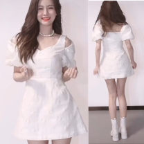 Dress Spring 2021 white S,M,L Mid length dress singleton  Short sleeve commute V-neck High waist Solid color Socket A-line skirt puff sleeve 18-24 years old Type A Bezgev / Beige Korean version Hollowed out, pleated, embroidered, pleated, Auricularia auricula other