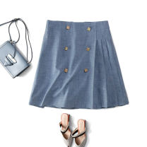 skirt Summer 2021 S,M,L Short skirt commute High waist Irregular Solid color Type A M0212 81% (inclusive) - 90% (inclusive) CG / Chaoge polyester fiber Button Ol style