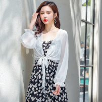 Lace / Chiffon Summer 2020 White coat, black coat M (recommended 80-102 kg), l (recommended 102-120 kg), XL (recommended 120-135 kg), 2XL (recommended 135-150 kg) Long sleeves Versatile Cardigan singleton  easy have cash less than that is registered in the accounts V-neck Solid color Petal sleeve