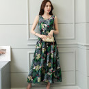 Dress Summer of 2018 longuette singleton  Sleeveless commute Crew neck Loose waist Decor Socket Big swing Type A literature