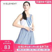 Dress Summer of 2019 Royal Blue White Stripe 155/S 160/M 165/L Mid length dress singleton  Sleeveless commute other Elastic waist stripe Socket Princess Dress other camisole 18-24 years old Type X Natural element Simplicity Splicing ZIAGAA0101 More than 95% knitting cotton