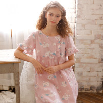 Nightdress ME JU Pink pear, blue pear, yellow pear 155(S),160(M),165(L),170(XL) Sweet Short sleeve Middle-skirt summer Plants and flowers youth Crew neck cotton printing MS5114