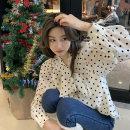 Women's large Spring 2021 White, black M (recommendation 90-105), l (recommendation 105-120), XL (recommendation 120-140), 2XL (recommendation 140-160), 3XL (recommendation 160-180), 4XL (recommendation 180-200) shirt singleton  commute easy moderate Cardigan Long sleeves Dot Korean version V-neck