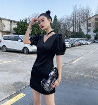 Dress Summer 2021 Black spot S,M,L Short skirt singleton  Short sleeve commute Crew neck High waist Solid color A-line skirt routine Retro polyester fiber