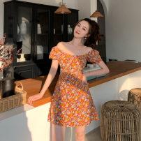 Dress Summer 2021 orange S, M Middle-skirt singleton  Short sleeve Sweet V-neck High waist Broken flowers other other other 18-24 years old Type H