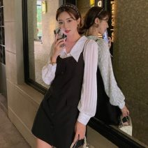 shirt Black suspender skirt, white shirt S,M,L Autumn 2020 other 81% (inclusive) - 90% (inclusive) Sleeveless Versatile Regular square neck Socket other Solid color High waist type Three dimensional decoration polyester cotton