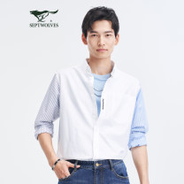 shirt Fashion City Septwolves 803 (Ben BAI) routine Button collar Long sleeves standard Other leisure spring youth Cotton 100% Basic public 2021 Solid color Color woven fabric No iron treatment cotton Splicing Soft Gloss  More than 95%