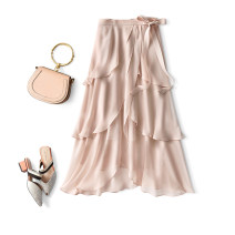 skirt Spring 2021 S,M,L,XL Navy, naked pink, purple grey longuette grace High waist Irregular Solid color A52125 Chiffon CG / Chaoge polyester fiber