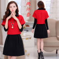 Dress Autumn of 2019 Red dress and black skirt (2-piece set), red dress and red skirt (2-piece set), black dress and black skirt (2-piece set), black dress and red skirt (2-piece set), red skirt (single skirt), black skirt (single skirt) Mid length dress Two piece set Long sleeves commute Solid color