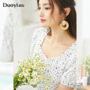 Dress Summer 2021 Black spots on white background S M L Mid length dress singleton  Short sleeve Sweet square neck High waist Dot zipper A-line skirt puff sleeve Others 25-29 years old Type A Duoyi / flower printing 36VX811002 More than 95% other cotton Cotton 100%