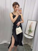 Dress Summer 2021 White, black XS,S,M,L,XL longuette singleton  Sleeveless commute Lotus leaf collar High waist Solid color Socket One pace skirt routine camisole 25-29 years old Type A Korean version Flounce, ruffle, Auricularia auricula, lace, asymmetry, strap polyester fiber