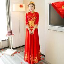 cheongsam Spring 2017 50. M, s, XL, XXL, XXXL, customized (non refundable) three quarter sleeve long cheongsam Retro No slits wedding Oblique lapel Decor 18-25 years old Embroidery MWX804 Other / other other