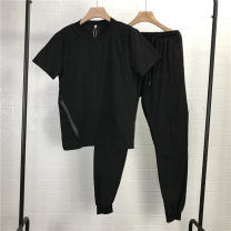 Leisure sports suit summer L black Short sleeve Other / other Ninth pants teenagers T-shirt 213B4 2021