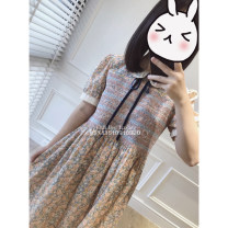 Dress Winter 2020 Decor S,M,L Two piece set Short sleeve commute Crew neck Elastic waist Decor Socket Big swing routine Other / other Simplicity More than 95% cotton