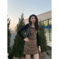 Dress Spring 2021 Leopard Print S, M Middle-skirt singleton  Sleeveless street High waist Leopard Print routine 18-24 years old JASUMMER 31% (inclusive) - 50% (inclusive) other Europe and America