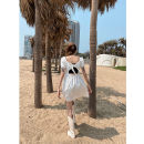Dress Summer 2021 Black, white Average size Short skirt singleton  Short sleeve street square neck High waist Solid color Socket other routine Others 18-24 years old JASUMMER 31% (inclusive) - 50% (inclusive) other other Europe and America