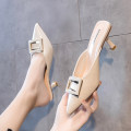 slipper 34,35,36,37,38,39 Other / other Off white, black, green Fine heel High heel (5-8cm) PU Summer 2020 Baotou rubber daily Korean version Adhesive shoes Youth (18-40 years old) Solid color Metal decoration PU PU Patent leather