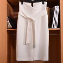 skirt Spring 2021 S,M,L,XL Black, lake blue, white, lotus root pink Middle-skirt grace High waist skirt Solid color Type H 30-34 years old More than 95% other Other / other nylon