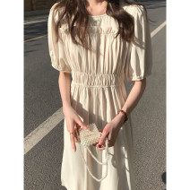 Dress Spring 2021 Cream rice, haze blue Average size Mid length dress singleton  Short sleeve commute Crew neck High waist Solid color Socket A-line skirt routine Type A Other / other Korean version Splicing 980fi 51% (inclusive) - 70% (inclusive) other