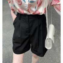 Casual pants black , Soybean milk white S, M Summer 2021 shorts Straight pants High waist commute routine 96% and above 986ec Other / other polyester fiber Korean version Button cotton