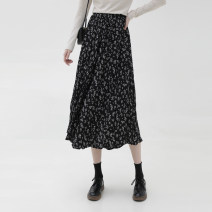 skirt Spring 2021 Average size Black flower, coffee flower Mid length dress commute Natural waist A-line skirt Broken flowers Type A 905ef More than 95% Other / other polyester fiber printing Korean version