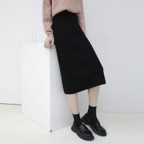 skirt Spring 2021 Average size Off white, black, bean paste purple, caramel coffee, sea blue Mid length dress commute High waist Pencil skirt Solid color Type H 932cd 31% (inclusive) - 50% (inclusive) knitting Other / other other Korean version