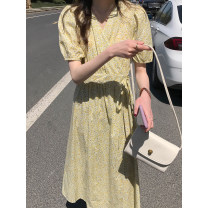 Dress Summer 2021 Picture color Average size longuette singleton  Short sleeve commute V-neck Broken flowers other routine Type H Other / other Korean version Bandage, print 909gf More than 95% cotton