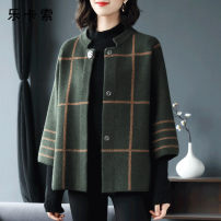 Middle aged and old women's wear Spring 2021 Red black green L (90-105 kg) XL (105-125 kg) 2XL (125-145 kg) 3XL (145-165 kg) Intellectuality Jacket / jacket easy singleton  lattice 40-49 years old Cardigan moderate other Medium length (length 50-70cm) routine L1901Z7309 Le CaSO Button polyester
