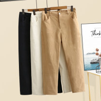 Women's large Summer 2020, autumn 2020 trousers singleton  commute thin Solid color Korean version 30-34 years old pocket Ninth pants