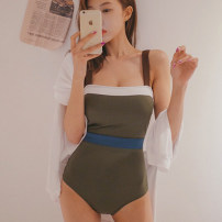 one piece  Tongtong swimsuit M,L,XL White, green Triangle one piece swimsuit With chest pad without steel support Spandex, nylon female