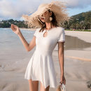one piece  Changning M,L,XL,XXL White, black Skirt one piece With chest pad without steel support Nylon, spandex female Short sleeve Casual swimsuit Solid color, others