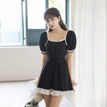 one piece  Tongtong swimsuit XL,L,M black Skirt one piece With chest pad without steel support Others, nylon female Middle sleeve Casual swimsuit