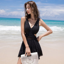 one piece  Tongtong swimsuit M,L,XL White, black Skirt one piece With chest pad without steel support Spandex, nylon female Sleeveless Casual swimsuit Other, solid