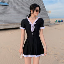 one piece  Tongtong swimsuit XL,L,M black With chest pad without steel support female Short sleeve Casual swimsuit