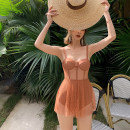one piece  Tongtong swimsuit M,L,XL chocolate Skirt one piece Steel strap breast pad female Sleeveless Casual swimsuit Solid color, wave point backless