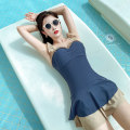 one piece  Tongtong swimsuit XXL,XL,L,M 1220-1,1220-2 Skirt one piece Steel strap breast pad Polyester, spandex, nylon female Sleeveless Casual swimsuit Solid color