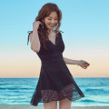 one piece  Tongtong swimsuit M,L,XL,XXL black Skirt one piece Steel strap breast pad other