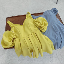 one piece  Tongtong swimsuit XL,L,M Blue, yellow With chest pad without steel support female Short sleeve Casual swimsuit