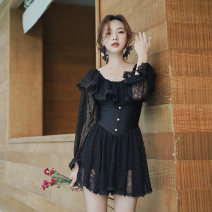one piece  Tongtong swimsuit M,L,XL black With chest pad without steel support other female Long sleeves Casual swimsuit Solid color