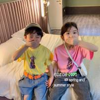 T-shirt Yellow, white, pink Other / other 100cm,110cm,120cm,130cm,140cm,150cm neutral summer Short sleeve Crew neck Korean version cotton Cartoon animation Three, four, five, six, seven, eight, nine