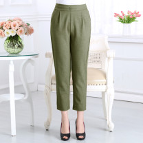 Casual pants Black, khaki, army green XL,XXL,XXXL,XXXXL,5XL Summer of 2018 Cropped Trousers Straight pants High waist Versatile Thin money 40-49 years old 31% (inclusive) - 50% (inclusive) carica  hemp pocket hemp