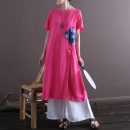 Dress Summer 2021 rose red Average size longuette singleton  Short sleeve commute Crew neck Loose waist Solid color Socket Irregular skirt routine 30-34 years old Type A ethnic style hemp