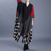 shirt Red and black Average size Spring 2020 hemp 96% and above Long sleeves commute Medium length stand collar Single row multi button Bat sleeve lattice 30-34 years old Straight cylinder ethnic style Patching, patching hemp