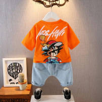 suit Other / other White, orange 90cm,100cm,110cm,120cm,130cm,140cm,150cm,160cm male summer leisure time Short sleeve + pants 2 pieces Thin money No model Socket nothing children Expression of love 20107-3 printed children's short sleeve suit 2, 3, 4, 5, 6, 7, 8, 9, 10 years old Chinese Mainland