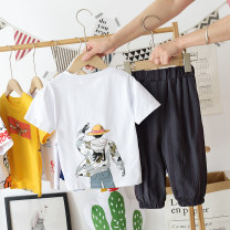 suit Other / other White, yellow 90cm,100cm,110cm,120cm,130cm,140cm,150cm,160cm male summer leisure time Short sleeve + pants 2 pieces Thin money No model Socket nothing children Expression of love 20088-2 vertical bar head short sleeve suit 2, 3, 4, 5, 6, 7, 8, 9, 10 years old Chinese Mainland