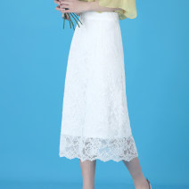 skirt Spring of 2019 S,M,L,XL,2XL,3XL,4XL White, brown, apricot, black Mid length dress commute High waist A-line skirt Solid color Type A 25-29 years old K58 More than 95% Lace Reading clothes nylon Cut out, stitching, lace Korean version