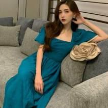 Dress Spring 2020 blue S, M Mid length dress singleton  Short sleeve commute square neck High waist puff sleeve 18-24 years old Type A Korean version G2B2.28H3WurVA