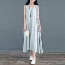 Dress Summer of 2018 Blue and green ■ lotus jacquard round neck vest skirt, meat powder ■ lotus jacquard round neck vest skirt Single code Sleeveless Crew neck Solid color Socket