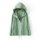 Women's large Autumn of 2019 Ht3003 pink, ht3003 green, ht3003 black 2XL,3XL,XL Jacket / jacket singleton  commute easy moderate Cardigan Long sleeves Solid color Korean version Hood routine cotton Three dimensional cutting routine haot-HT3003 zipper
